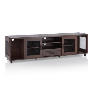 Coopern 71 in. Vintage Walnut Particle Board TV Stand with 1-Drawer Fits TVs Up to 80 in. with Storage Doors