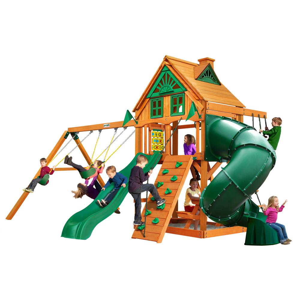 Gorilla Playsets Mountaineer Treehouse Wooden Swing Set With Tube Slide And Rock Wall