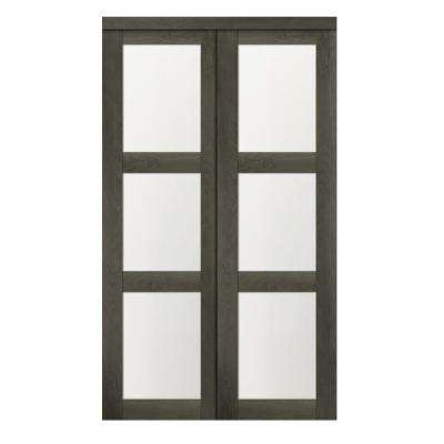 60 in. x 80.50 in. 3-Lite 1-Panel Iron Age Finished MDF Sliding Door