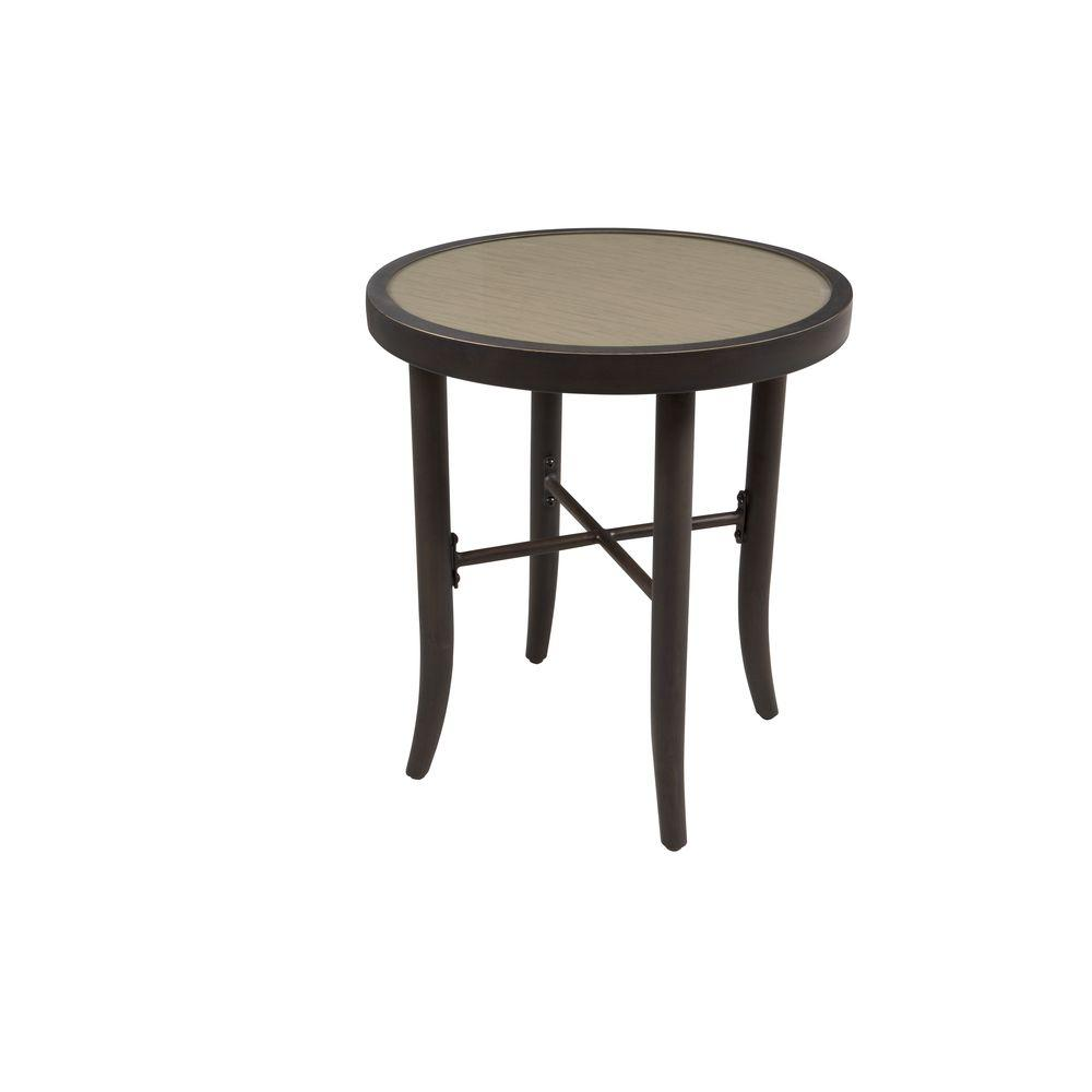hampton bay aria patio side table fts80725 the home depot. Black Bedroom Furniture Sets. Home Design Ideas