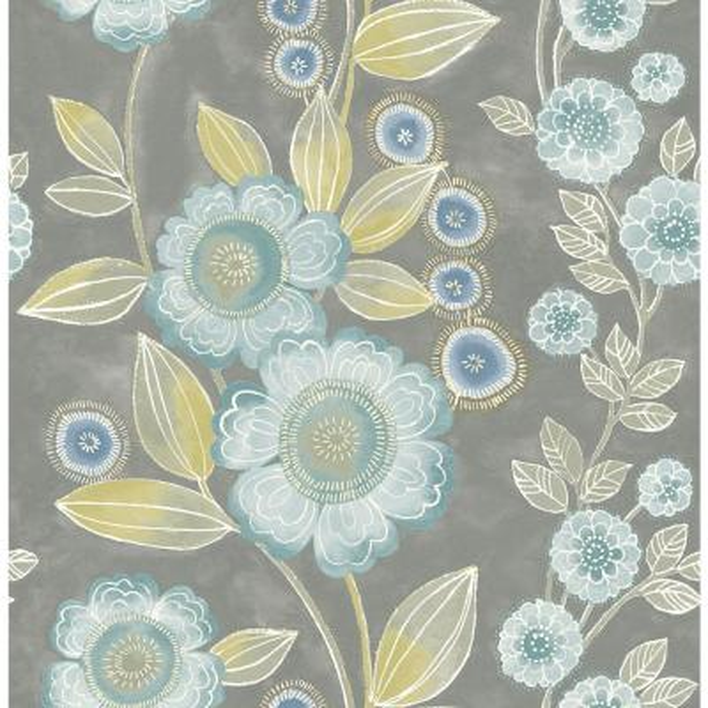 Bloom Grey Floral Wallpaper
