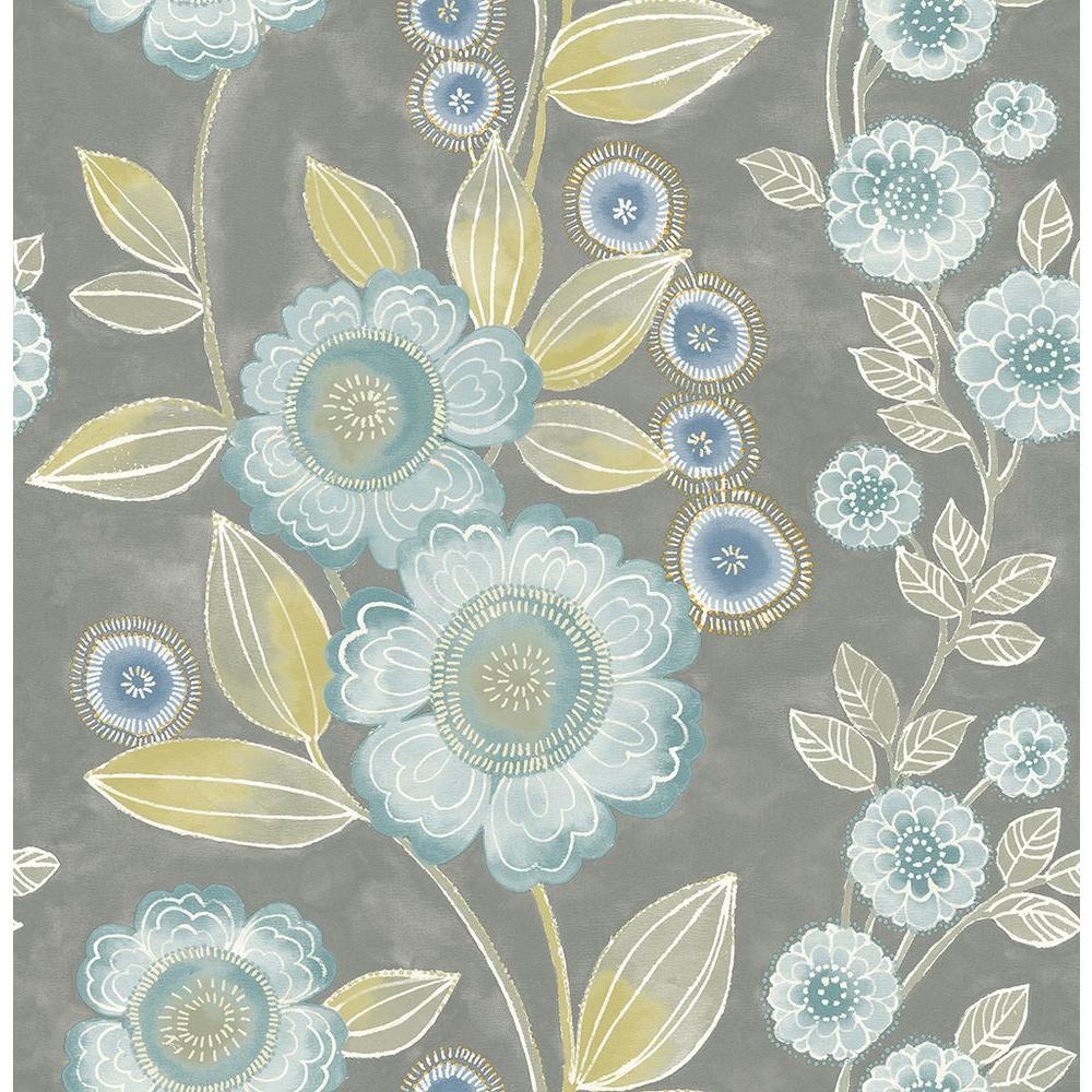 Bloom Grey Floral Wallpaper Sample