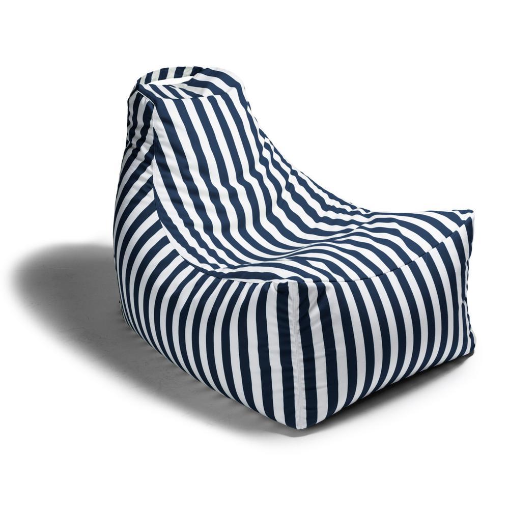 Juniper Navy Stripes Outdoor Bean Bag Patio Lawn Chair