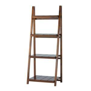 60 in. Brown Wood 4-shelf Ladder Bookcase with Open Storage