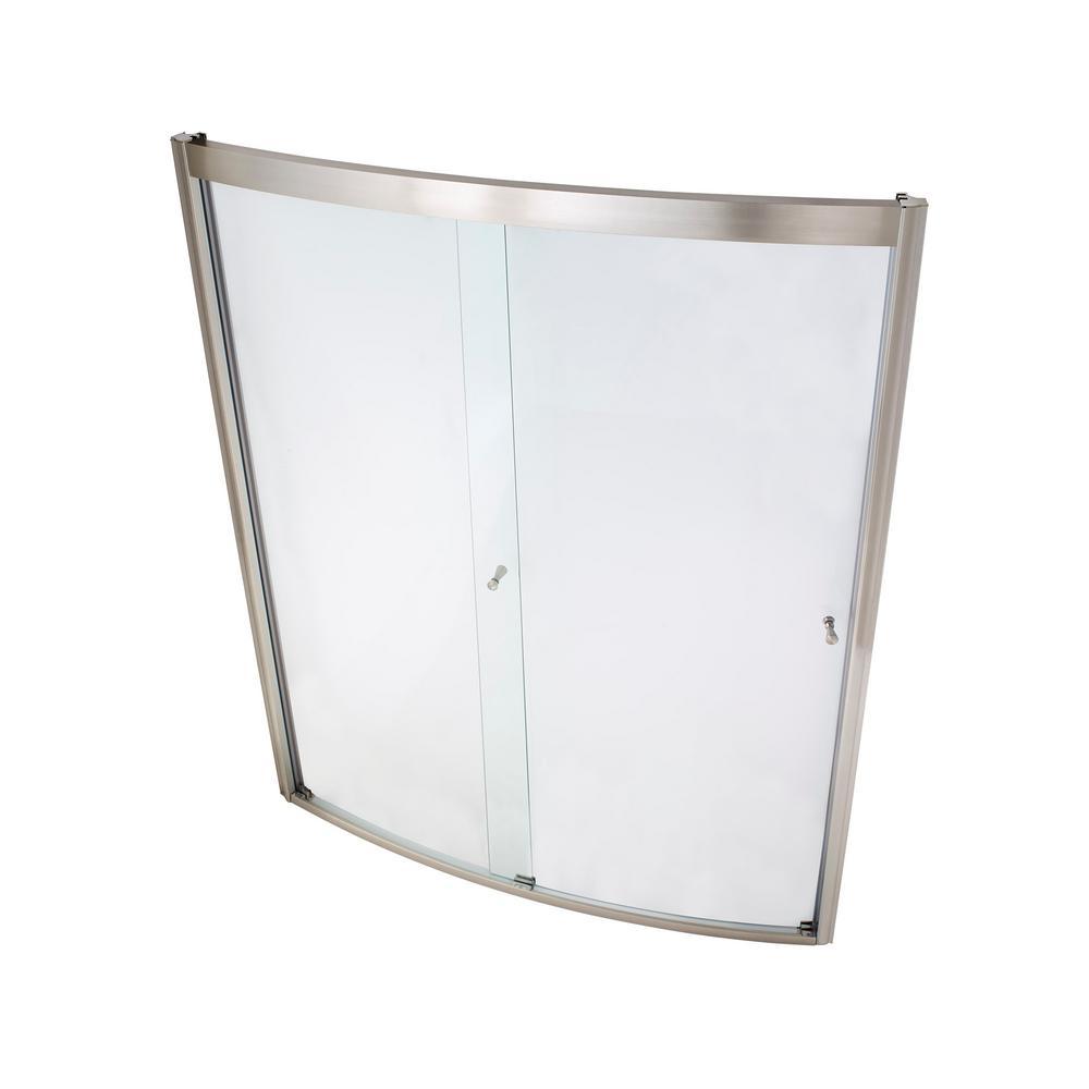 framed bypass shower door in satin nickel and