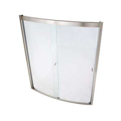 Ovation 60 in. x 72 in. Framed Bypass Shower Door in Satin Nickel and Clear Glass