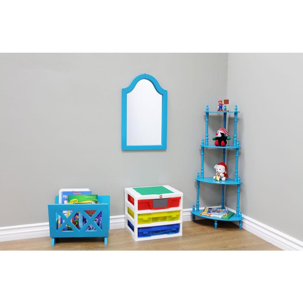 24 in. H x15 in. W Blue Wood Framed Wall Mirror