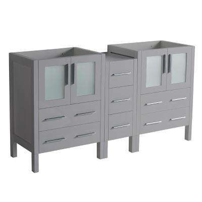 Torino 60 in. W Modern Double Bath Vanity Cabinet Only in Gray with Middle Cabinet