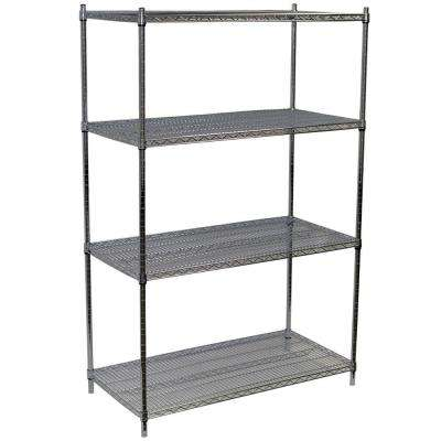 74 in. H x 48 in. W x 24 in. D 4-Shelf Steel Wire Shelving Unit in Chrome