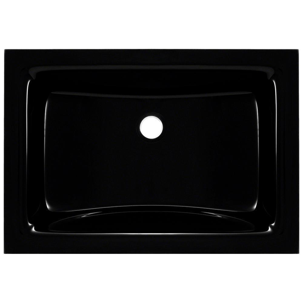 Undermount Glass Bathroom Sink in Black