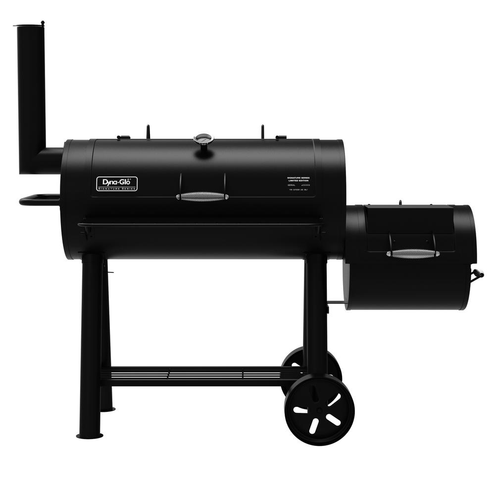 Dyna-Glo Signature Heavy-Duty Barrel Charcoal Grill and Offset Smoker in Black