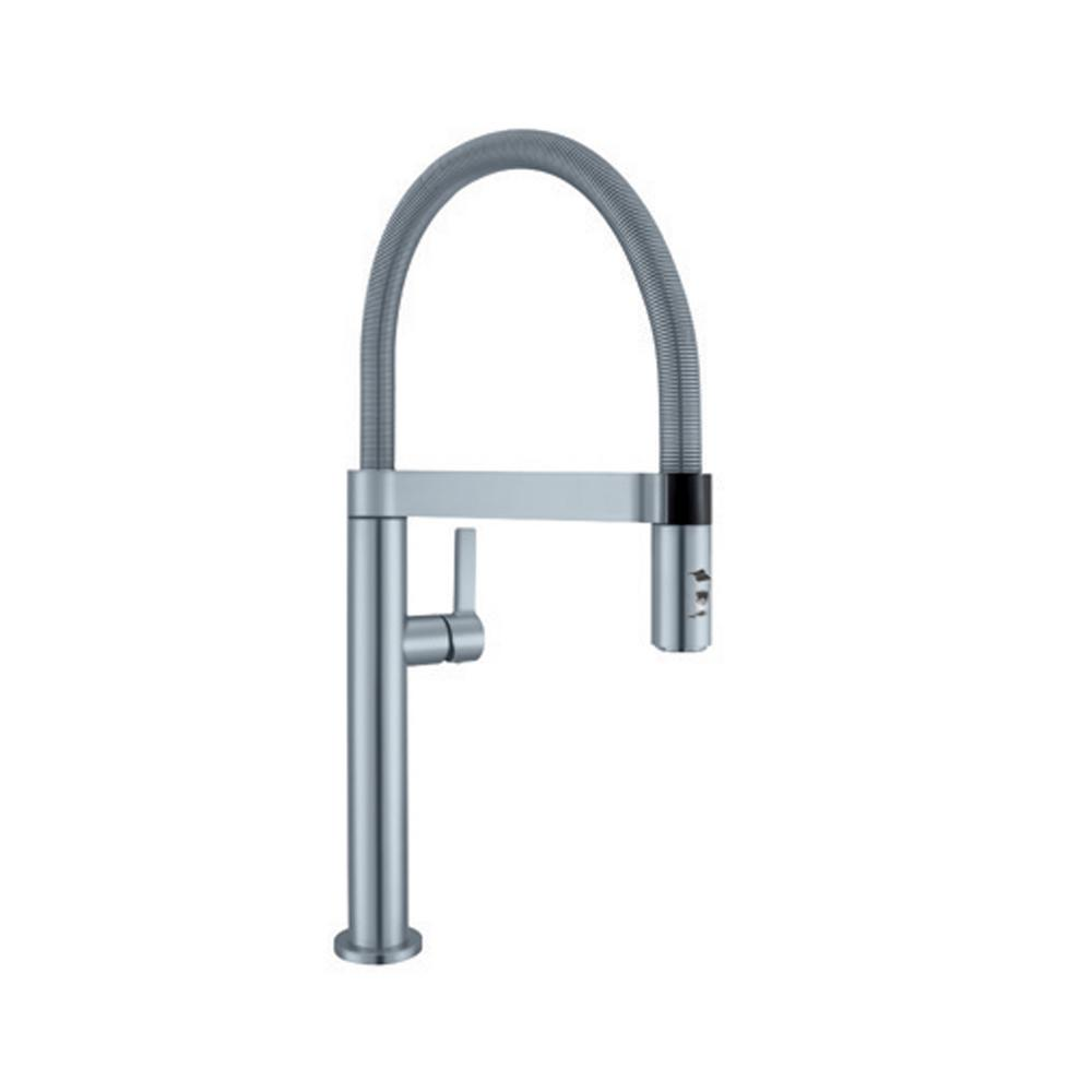 Blanco Culina Mini Single Handle Pull Down Sprayer Kitchen Faucet In Satin  Nickel