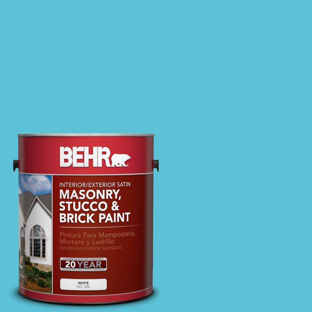 1 gal. #P480-4 Rushing Stream Satin Interior/Exterior Masonry, Stucco and Brick Paint