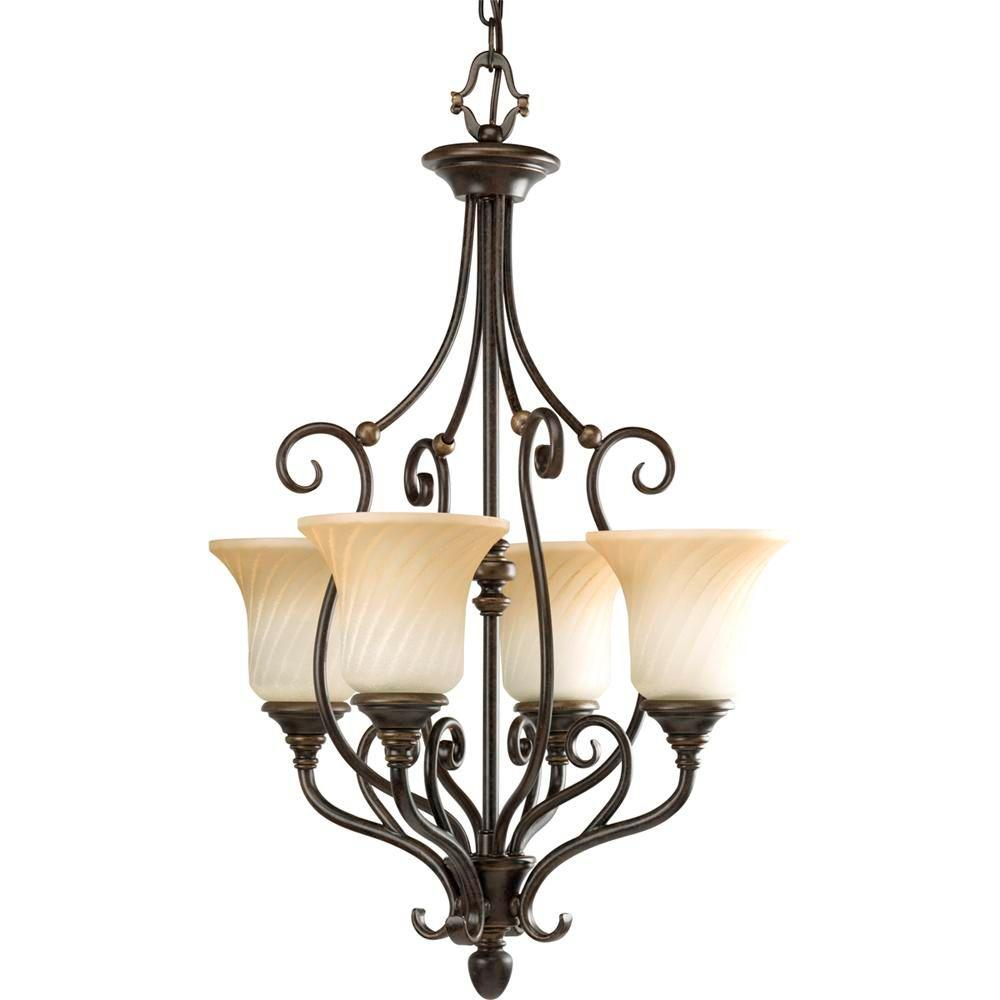 Kensington Collection 4-Light Forged Bronze Foyer Pendant with Frosted Caramel