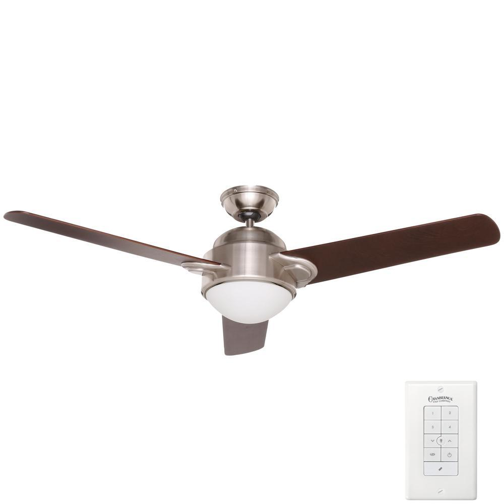 Trident 54 in. Indoor Brushed Nickel Ceiling Fan with Universal Wall