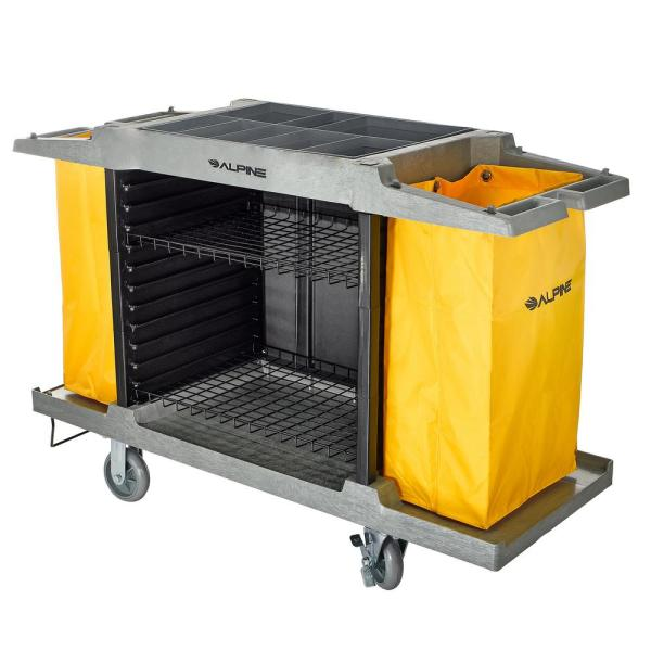 2-Wire Shelf PVC Janitorial Platform Cleaning Cart with 2 Yellow Vinyl Bags