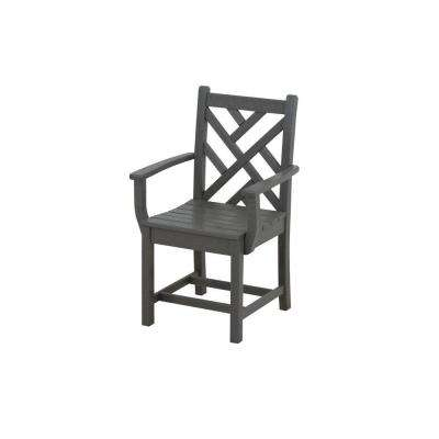 Chippendale Slate Grey Patio Dining Arm Chair