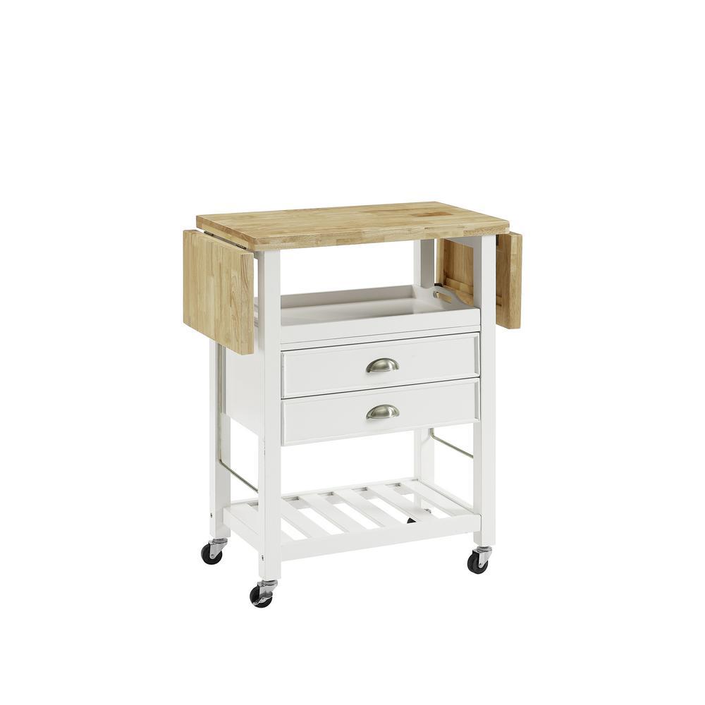 Bristol White Kitchen Cart with Drop Leaf