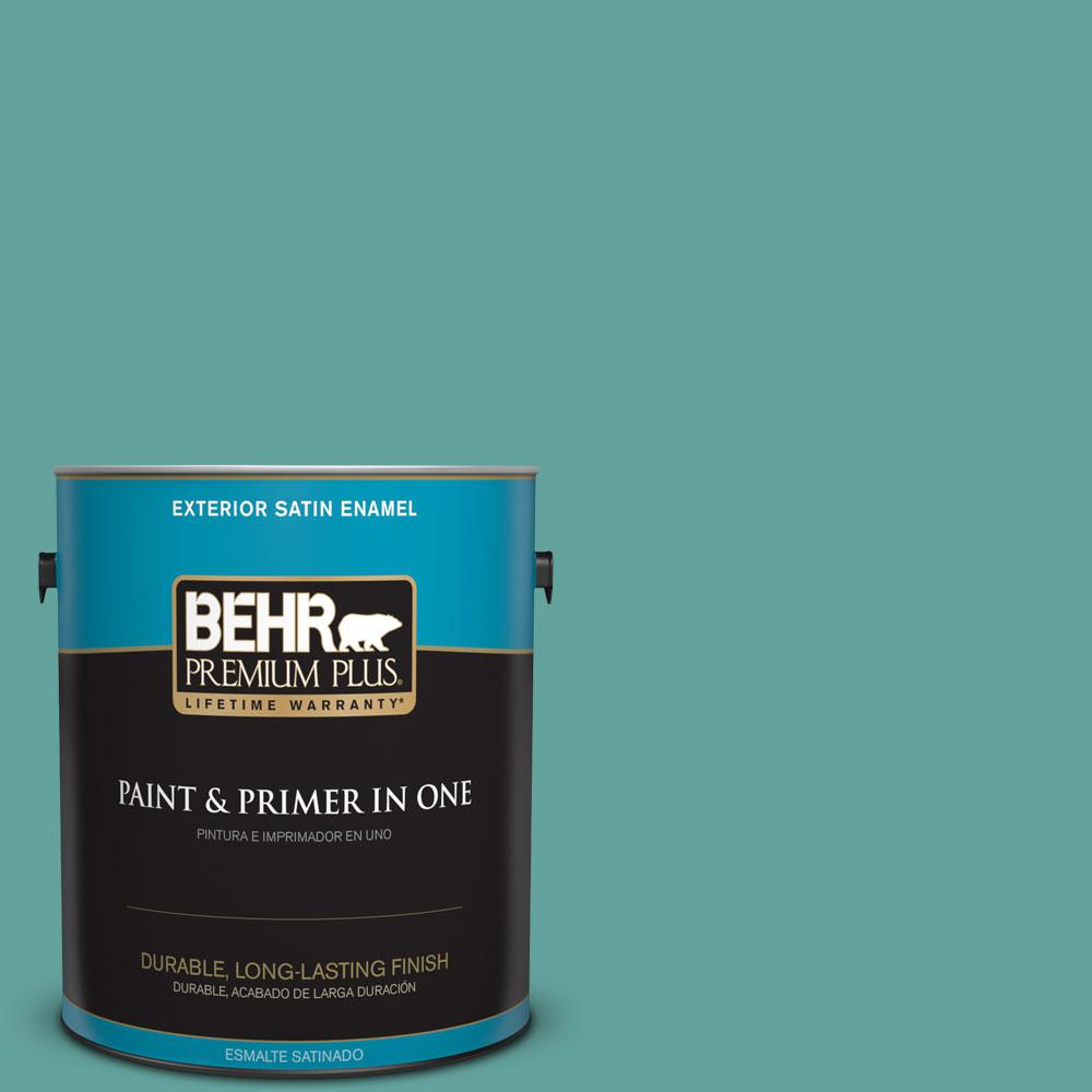 1 gal. #M450-5 Aqua Rapids Satin Enamel Exterior Paint and Primer