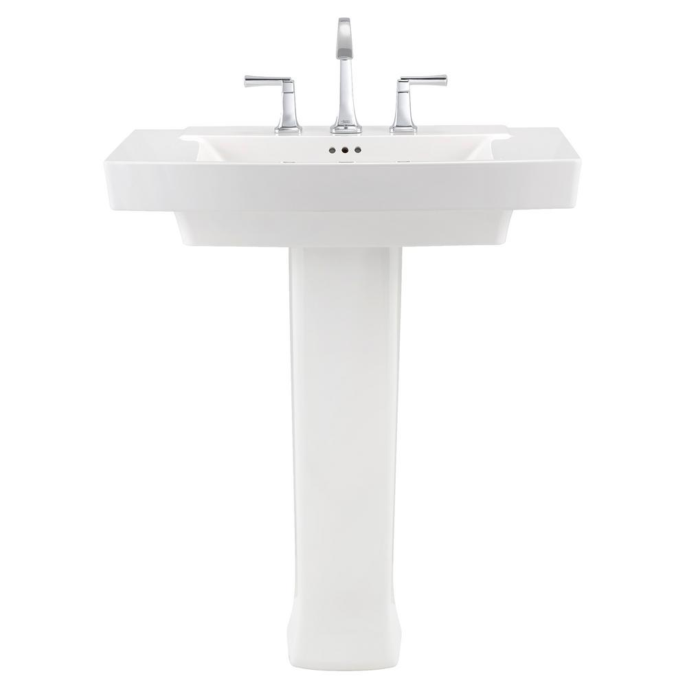 American Standard Townsend Pedestal Sink In White With 8 In Faucet Holes 0328800 020 The Home Depot
