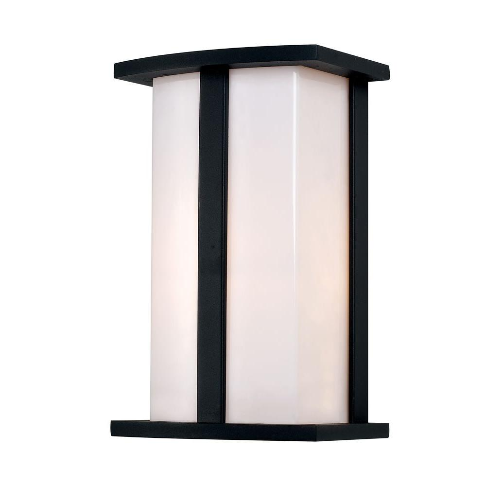 1-Light Black Cathedral Outdoor Wall Lantern