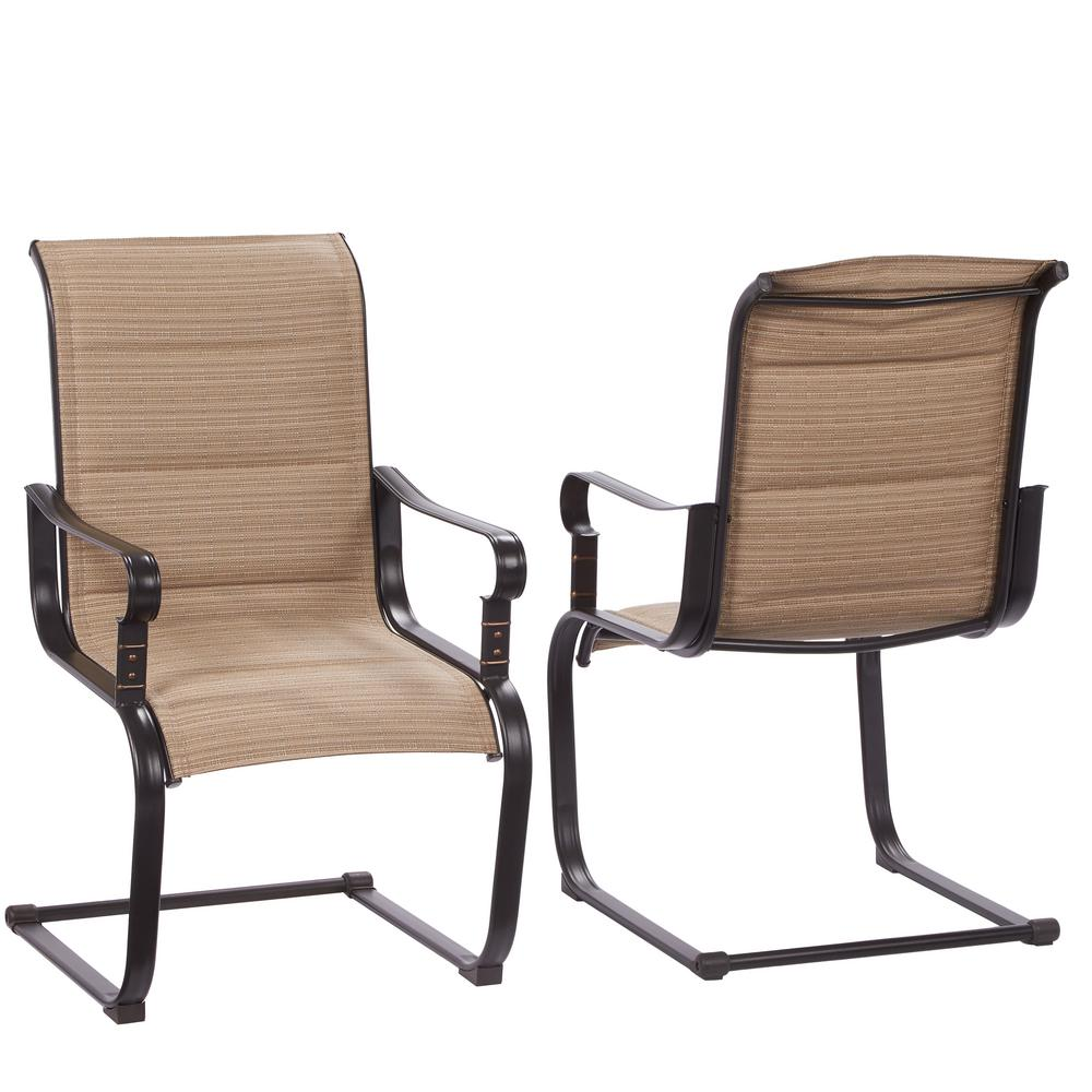Hampton bay belleville rocking padded sling outdoor dining chairs 2 pack