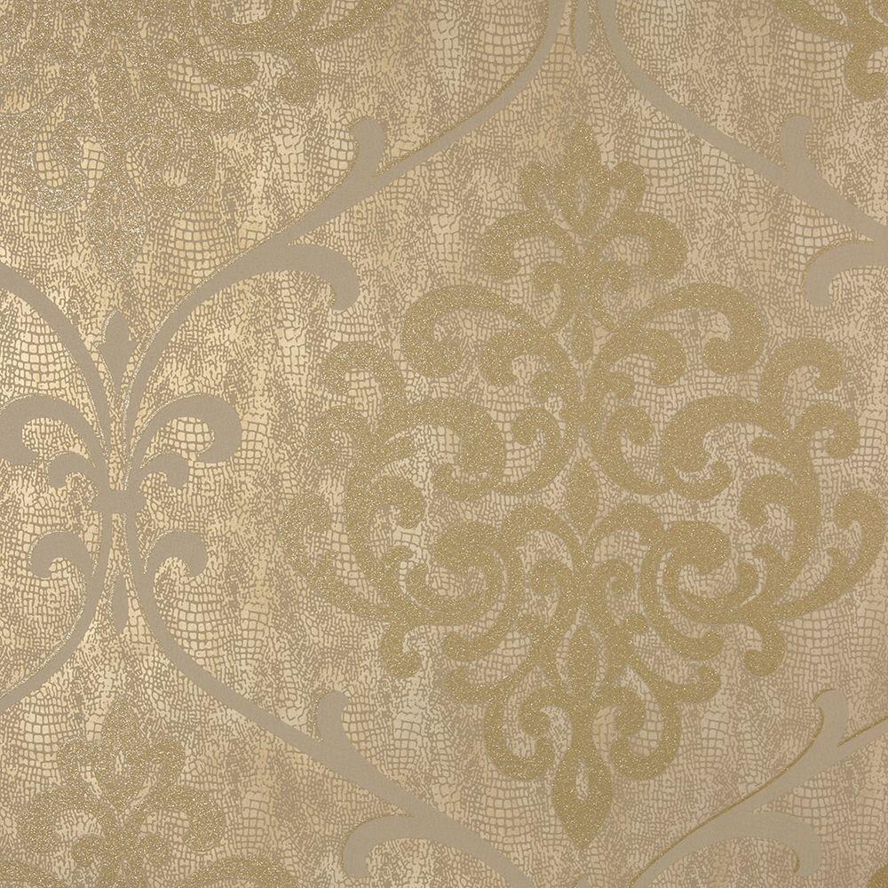 Ambrosia Brass Glitter Damask Wallpaper
