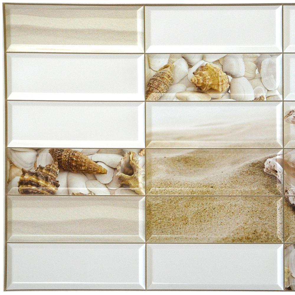 3D Falkirk Retro 10/1000 in. x 38 in. x 19 in. White Faux Pearl Shells PVC Wall Panel