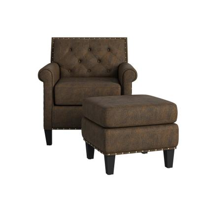 Angie Button in Distressed Saddle Brown Faux Leather Tufted Rolled Arm Chair and Ottoman Set