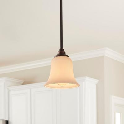 1-Light Oil Rubbed Bronze Mini Pendant with Frosted White Glass Shade