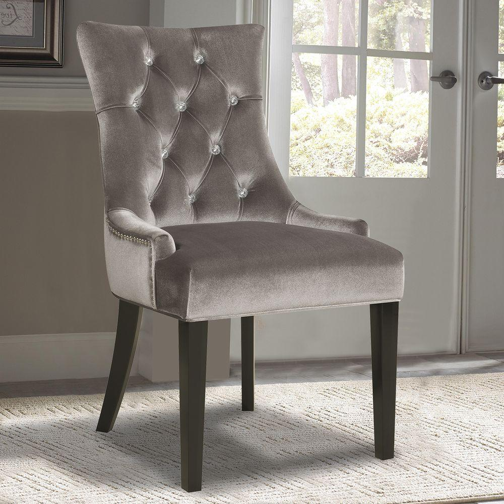 Ski Furniture Chrome Velvet Dining Chair
