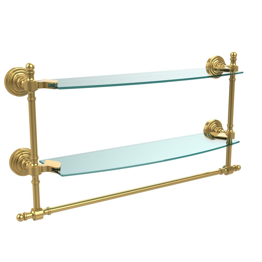 Allied Brass Retro Wave Collection 18 in. Two Tiered Glass Shelf ...
