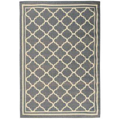 Summer Collection Moroccan Trellis Design Natural Mocha 5 ft. x 7 ft. Indoor/Outdoor Area Rug