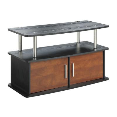 36 in. Cherry Particle Board TV Stand 36 in. with Doors