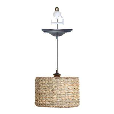 Instant Pendant 1-Light Recessed Light Conversion Kit Brushed Bronze Grass Weave Shade