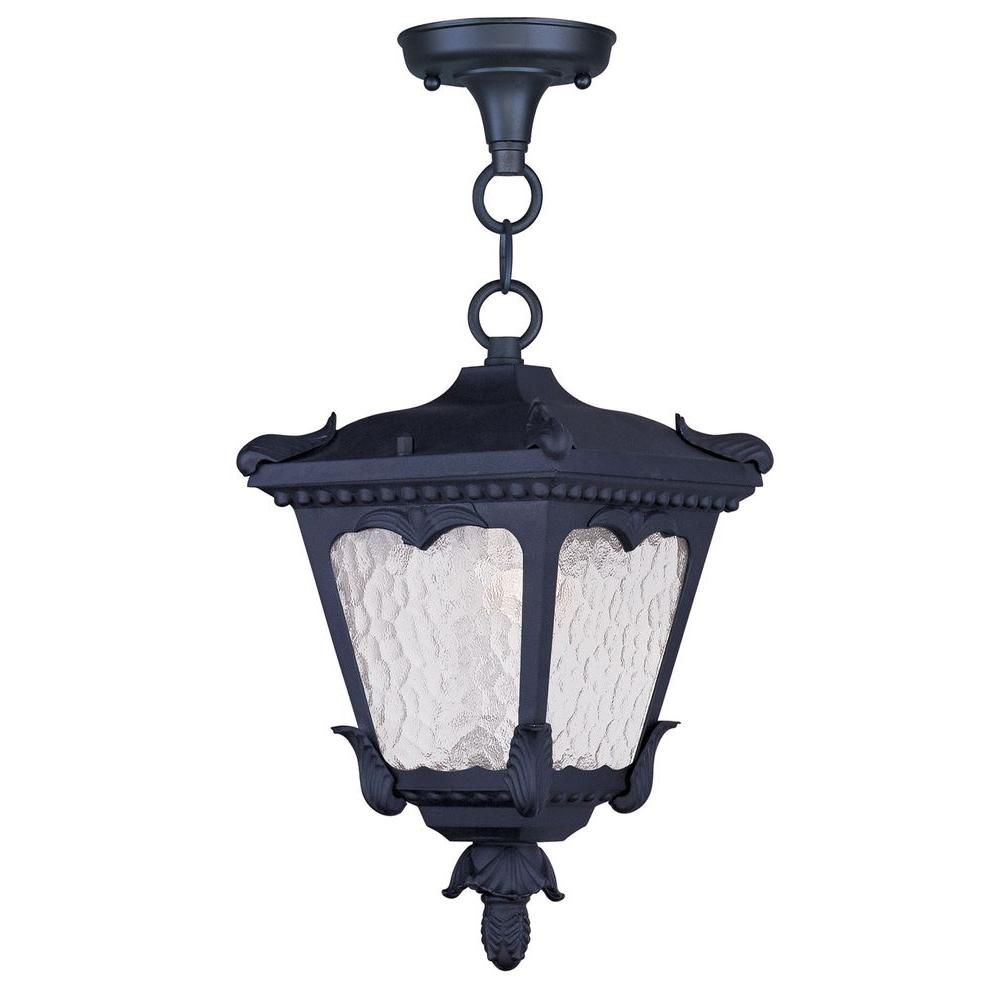 Livex Lighting Providence 1-Light Hanging Outdoor Black Incandescent Lantern