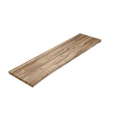 8 ft. L x 2 ft. 1.5 in. W x 2 in. T Butcher Block Countertop Unfinished Acacia with Live Edge