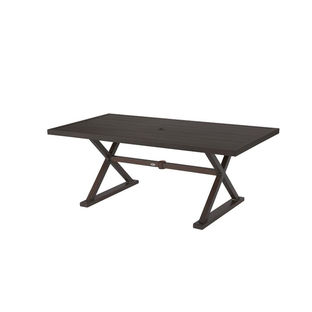 Hampton Bay Woodbury Metal Rectangular Outdoor Patio Dining Table - White rectangular outdoor dining table