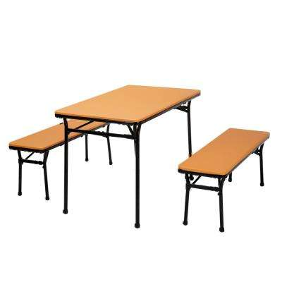 3-Piece Orange Portable Outdoor Safe Folding Table Bench Set