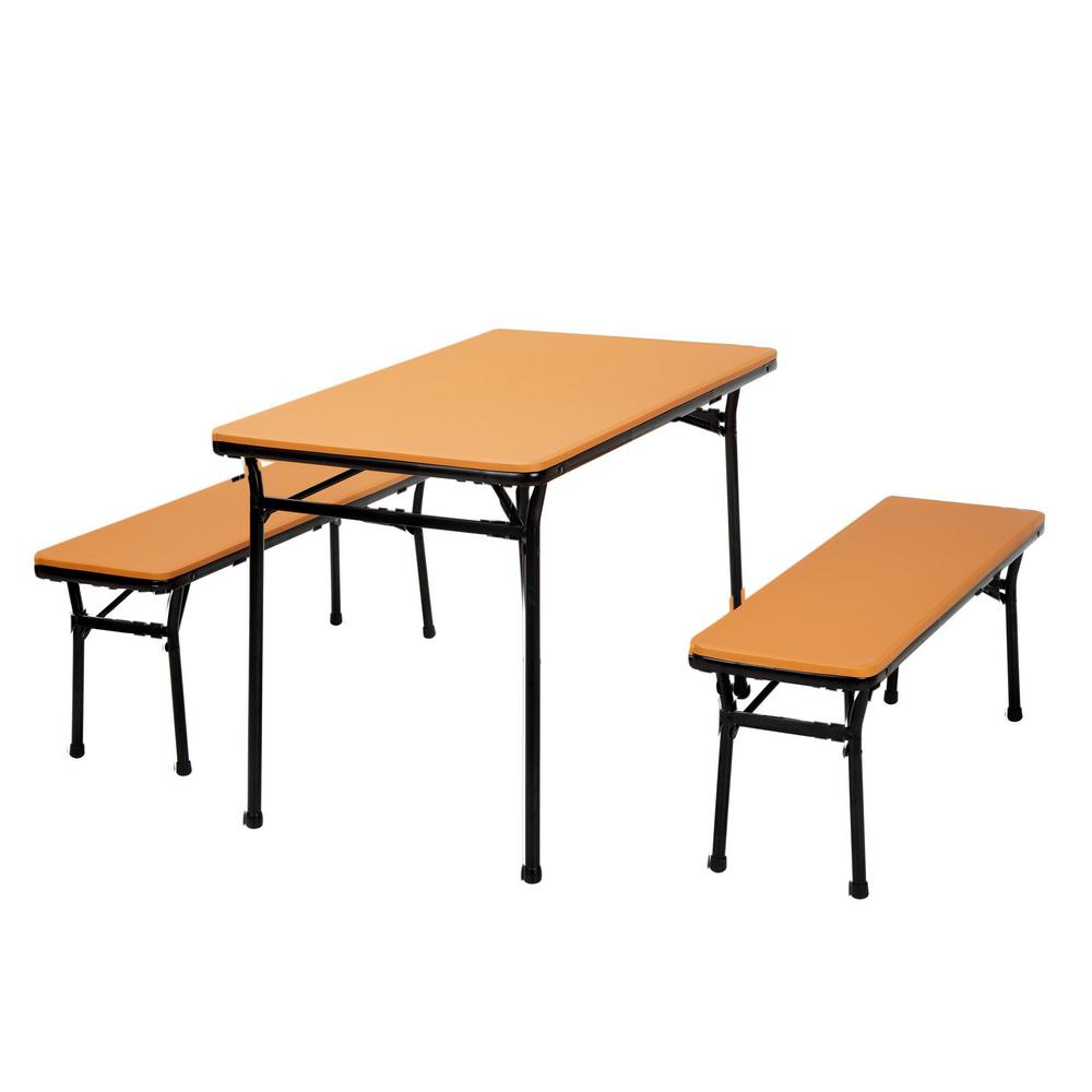 Cosco 3 Piece Orange Folding Table And Bench Set