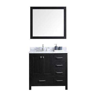 Caroline Premium 36 in. W Bath Vanity in Zebra Gray with Marble Vanity Top in White with Round Basin and Mirror