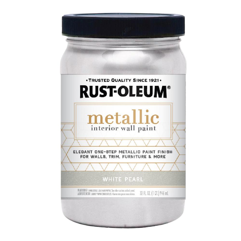 rust oleum 1 qt white pearl metallic paint 320731 the. Black Bedroom Furniture Sets. Home Design Ideas