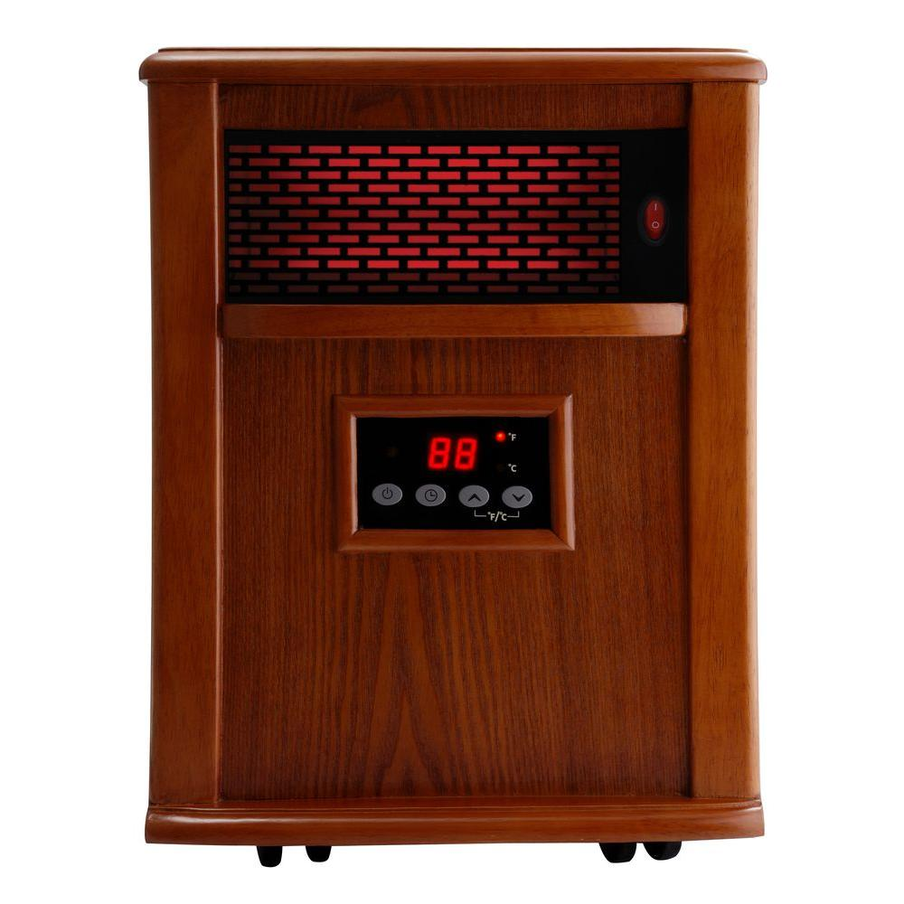American Comfort 500 Watt Portable Infrared Electric Heater Solid wood construction - Tuscan