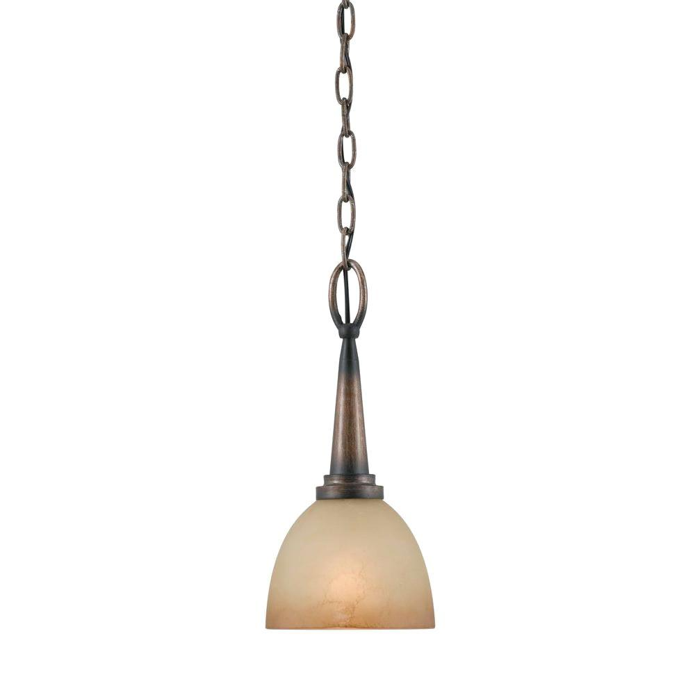 Illumine 1-Light Torch Bronze Mini Pendant with Amber Tinted Glass