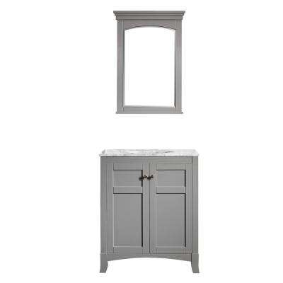 Arezzo 30 in. W x 22 in. D x 36 in. H Vanity in Grey with Marble Vanity Top in Carrara White with White Basin and Mirror