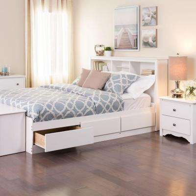 Monterey Queen Wood Storage Bed White Cherry