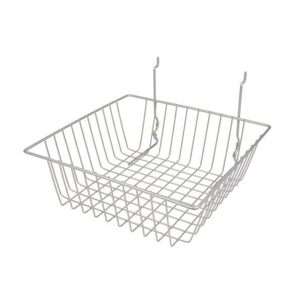 12 in. W x 12 in. D x 4 in. H Chrome Small Wire Basket (Pack of 6)