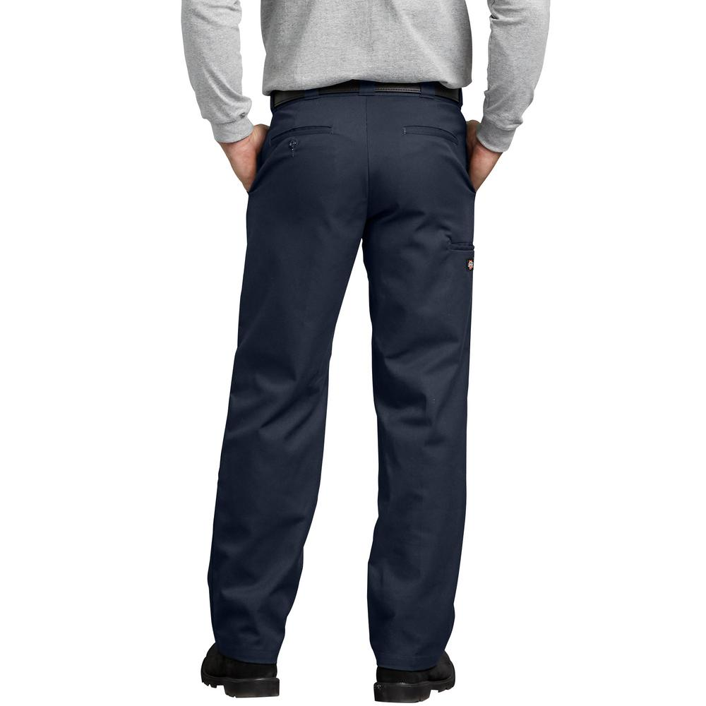 Dickies Dark Navy FLEX Regular Fit Straight Leg Double Knee Work Pants WP882DN