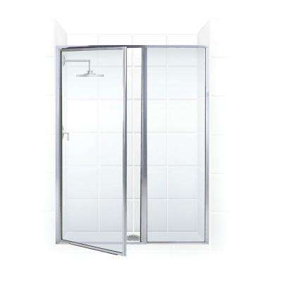 Legend Series 41 in. x 69 in. Framed Hinged Shower Door with Inline Panel in Chrome with Clear Glass
