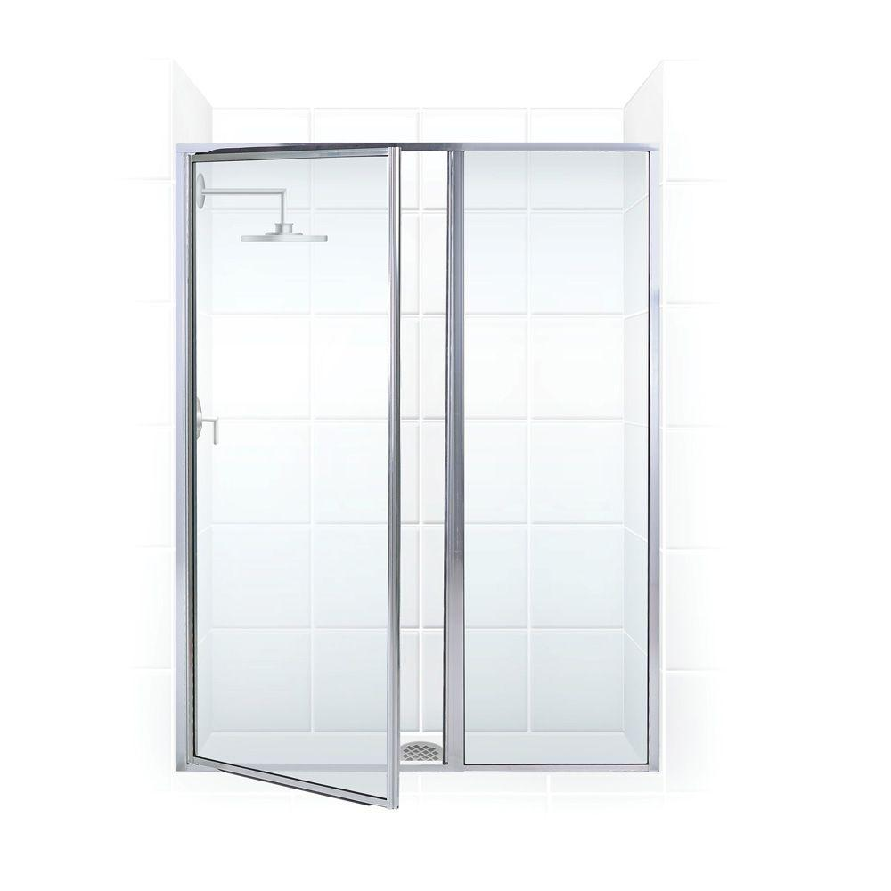 Coastal Shower Doors Legend Series 51 in. x 69 in. Framed Hinged Shower Door with Inline Panel in Chrome with Clear Glass